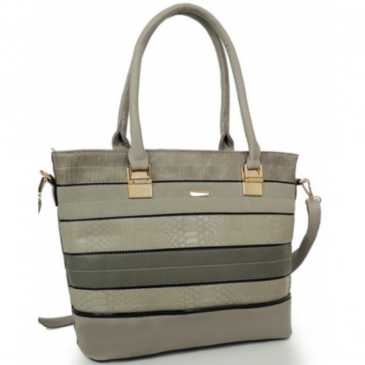 Sivá kabelka do ruky so zapínaním na zips
