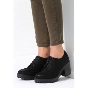 Čierne dámske jesenné topánky na platforme
