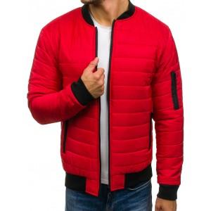 Červená pánska bomber bunda na jeseň
