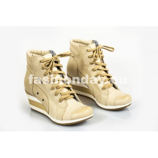 Dámske kožené topánky bežové DT219