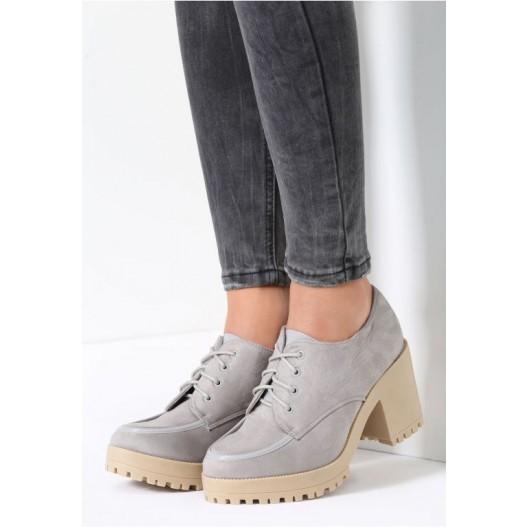 Svetlo sivé dámske prechodné topánky na platforme