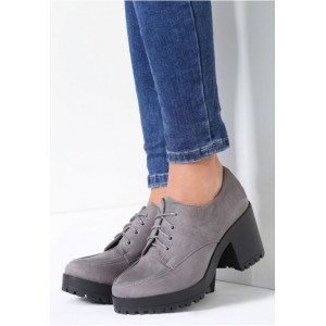 Dámske jesenné topánky na platforme tmavo sivé