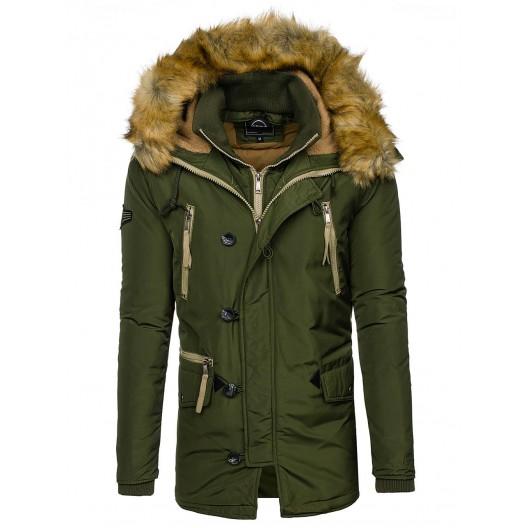 Zelená zateplená pánska zimná bunda