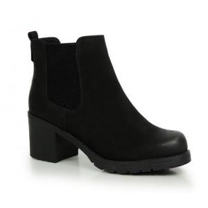Čierna zimná obuv na podpätku