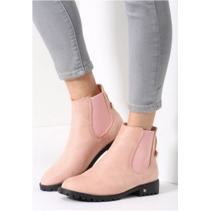 Dámske zimné členkové topánky ružovej farby