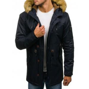 Tmavo modrý zimný kabat s kapucňou