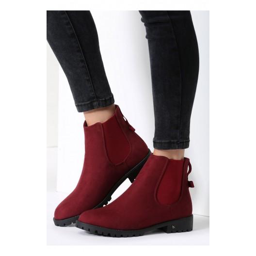 Bordové dámske členkové topánky na zimu