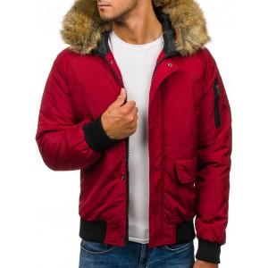 Moderná pánska zimná bunda v červenej farbe