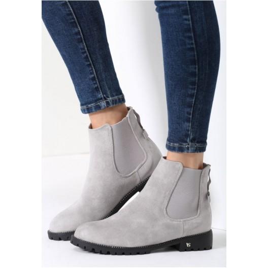 Dámska členková zimná obuv svetlo sivej farby