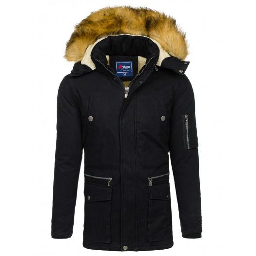 Čierna zimna pánska bunda s kapucňou