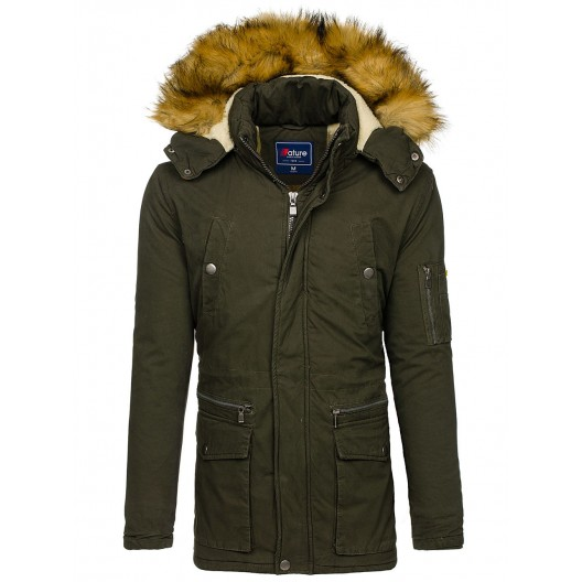 Zelená pánska bunda na zimu