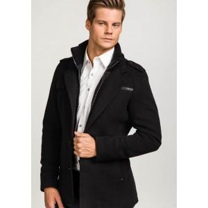Čierny elegantný pánsky kabát na zimu
