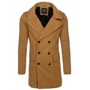 Béžový elegantný zimný kabát pre pánov