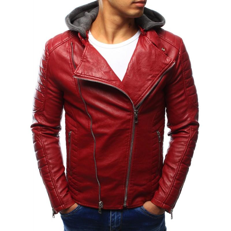 Červená pánska kožená bunda s kapucňou - fashionday.eu 1d9cefc8f21