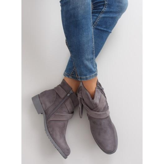 Sivá členková obuv s mašľou