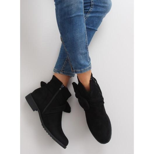 Elegantné dámske členkové topánky v čiernej farbe