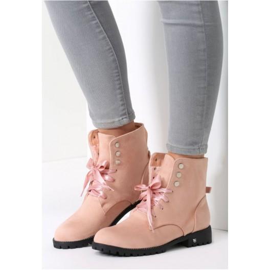 Štýlové dámske kotníkové topánky v ružovej farbe