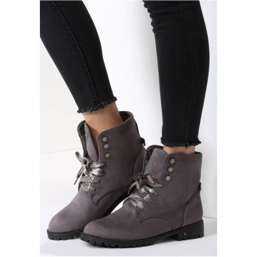 Tmavo sivé dámske topánky na šnurovanie
