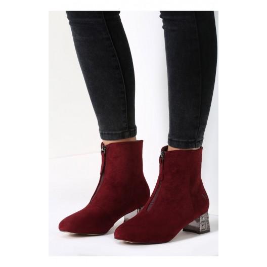 Bordové dámske topánky na opätku