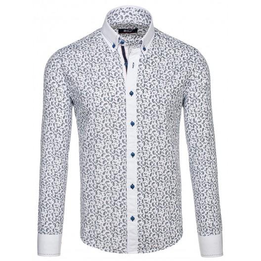 Pánska košeľa slim fit s tmavo modrým vzorom