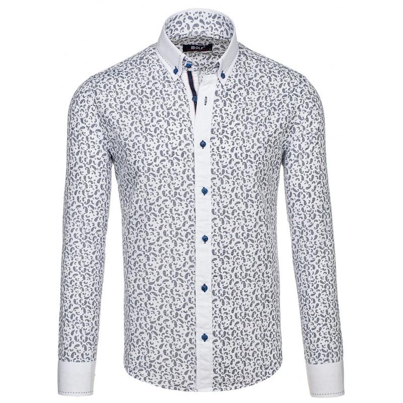 c2639f6a1 Pánska košeľa slim fit s tmavo modrým vzorom - fashionday.eu