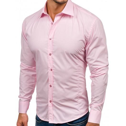 Ružová pánska slim fit košeľa s dlhým rukávom
