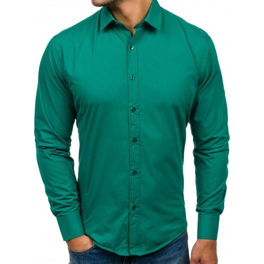 Tmavo zelená pánska košeľa s dlhým rukávom