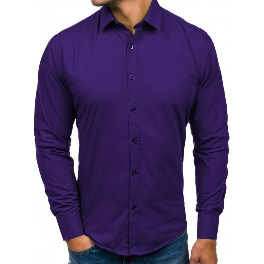 Fialová slim fit košeľa pre pánov