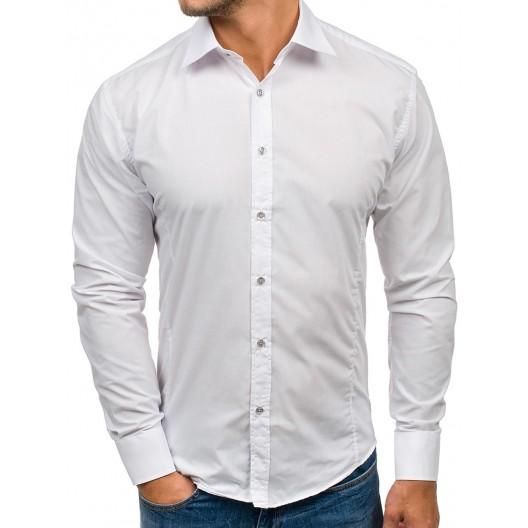 Elegantné pánske slim fit košele v bielej farbe