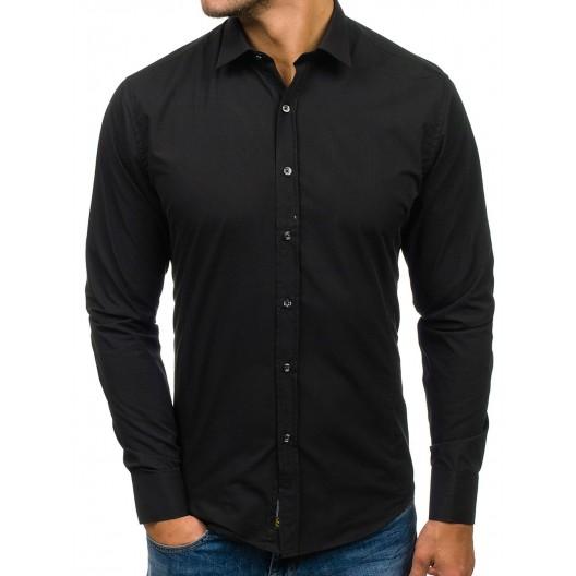 Čierna klasická pánska slim fit košeľa