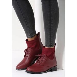 Bordové členkové topánky pre dámy na šnurovanie
