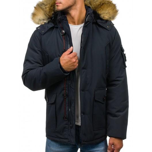 Tmavo modrá pánska zimná bunda