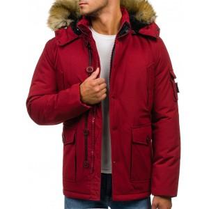 Zimná pánska bunda s kožušinou červenej farby
