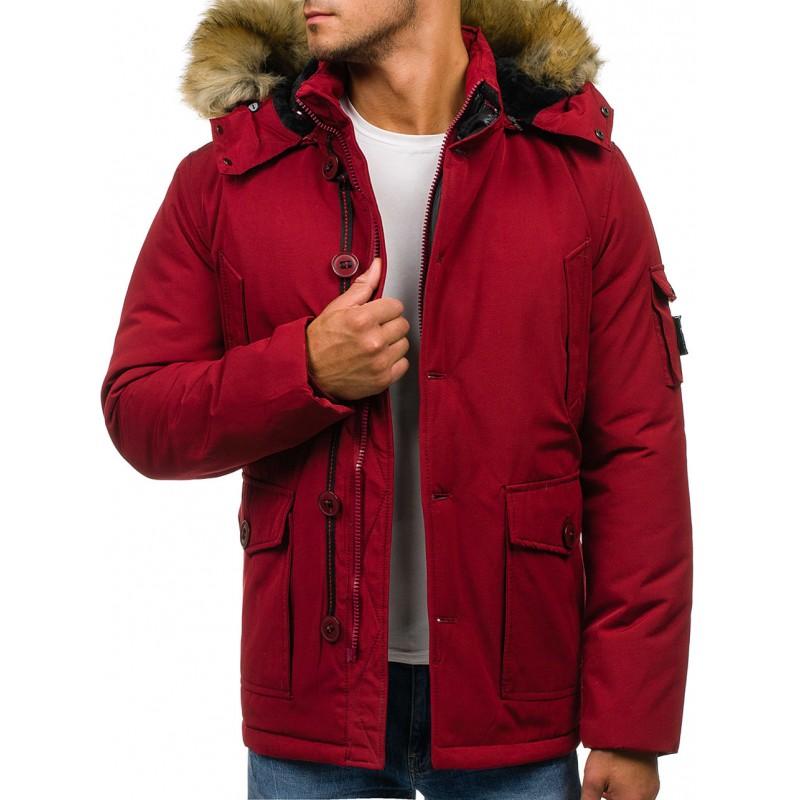 229600cc9e Zimná pánska bunda s kožušinou červenej farby - fashionday.eu