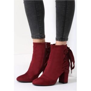 Zimné dámske členkové topánky bordovej farby