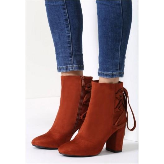 Oranžové zimné topánky na podpätku