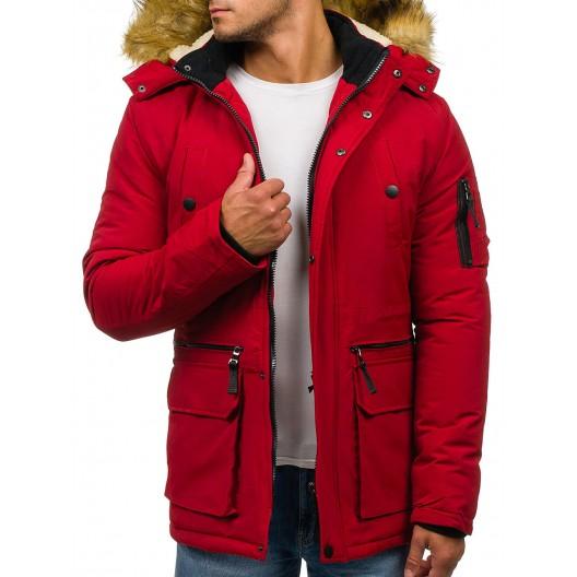 Červená zateplená pánska bunda