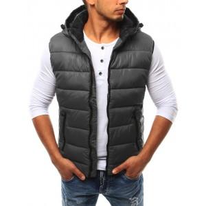 Pánska vesta s kapucňou v sivej farbe