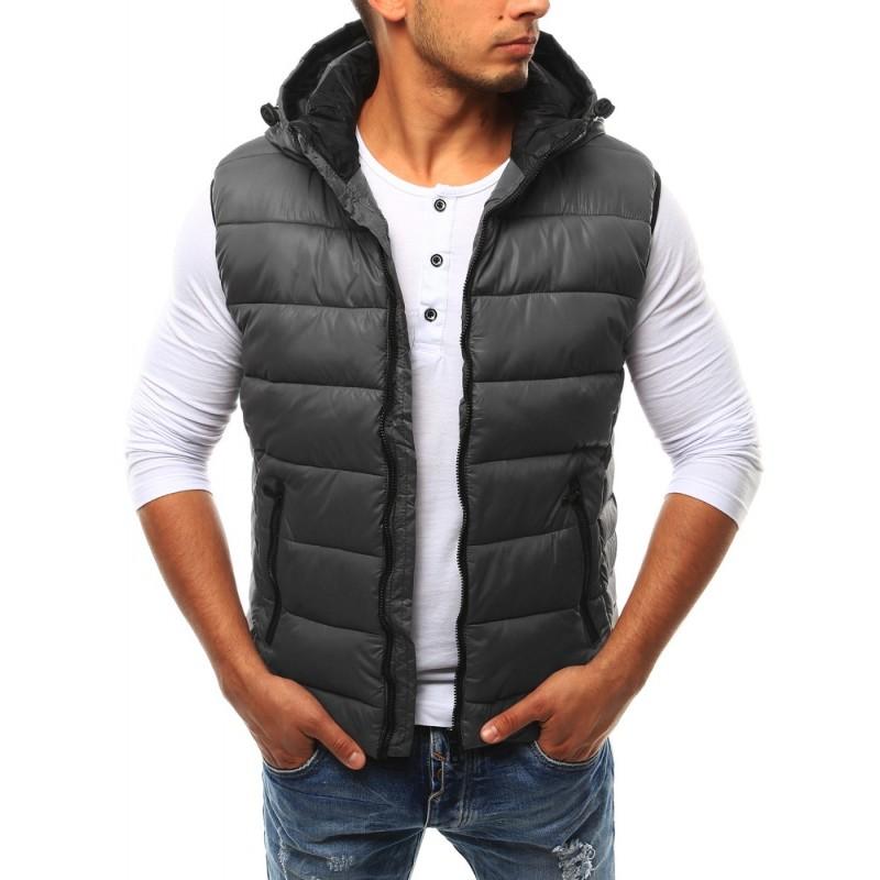 98e0e500b94b Pánska vesta s kapucňou v sivej farbe - fashionday.eu