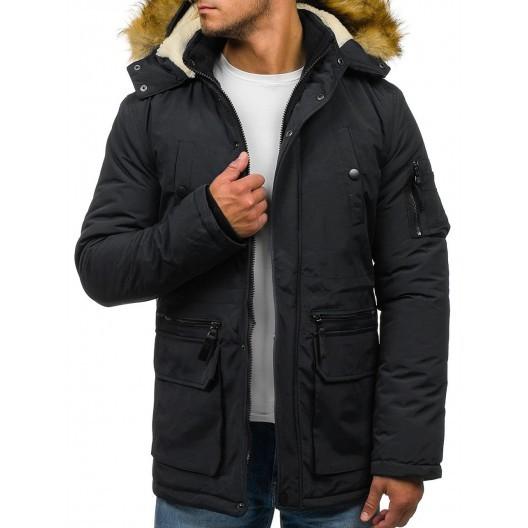 Čierna pánska bunda s kapucňou na zimu