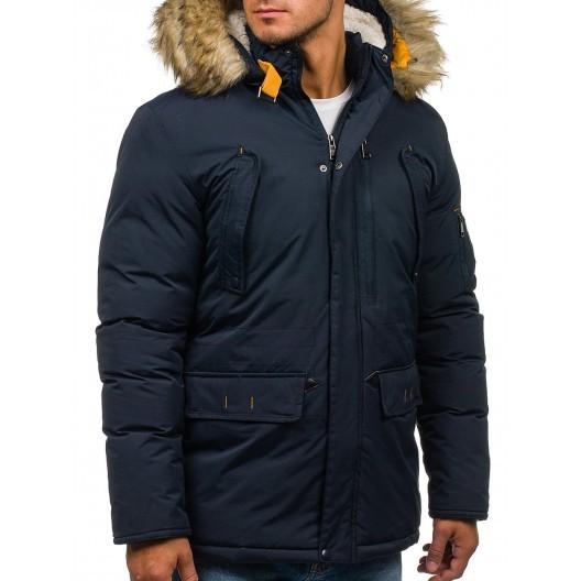 Tmavo modrá pánska bunda s kapucňou