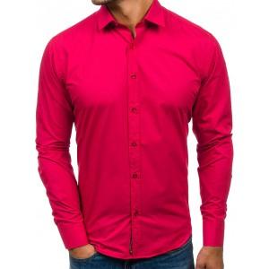 Tmavo ružová pánska slim košeľa s dlhým rukávom