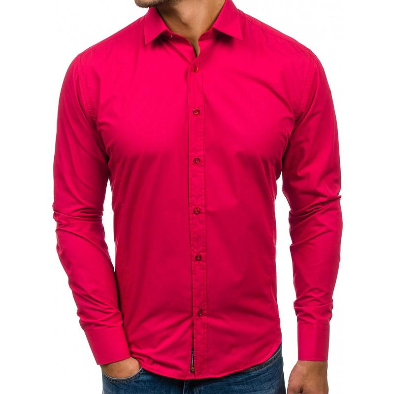 0b340fe3cf3b Tmavo ružová pánska slim košeľa s dlhým rukávom - fashionday.eu