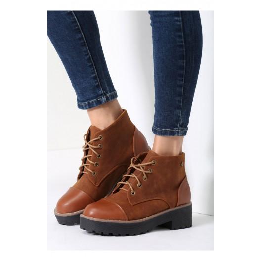 Hnedé dámske členkové topánky na podpatku