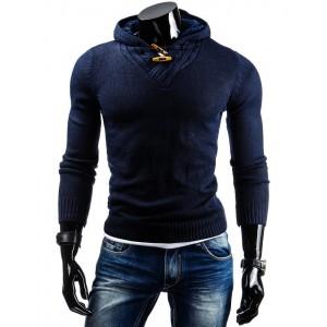 Tmavo modrý pánsky sveter s kapucňou