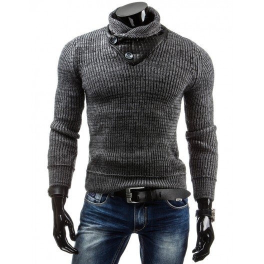 Pánsky sveter so zapínaním v tmavo sivej farbe