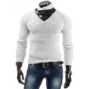 Biely pánsky sveter s golierom