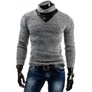 Pánsky sveter s gombíkmi sivej farby