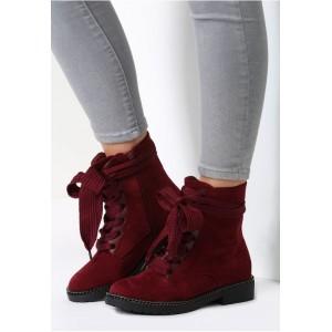 Bordové dámske topánky na šnúrovanie