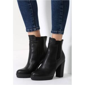 Čierne dámske zimné topánky na vysokom podpätku